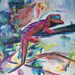 red Gecko cm 70 x 100 Oil on Canvas