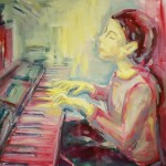 Playing the Piano cm 90 x 90 Oil on Canvas (Rockakademie Dortmund, Auftragsarbeit)
